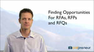 Introduction to Finding Opportunities for RFAs, RFPs and RFQs by Aidpreneur