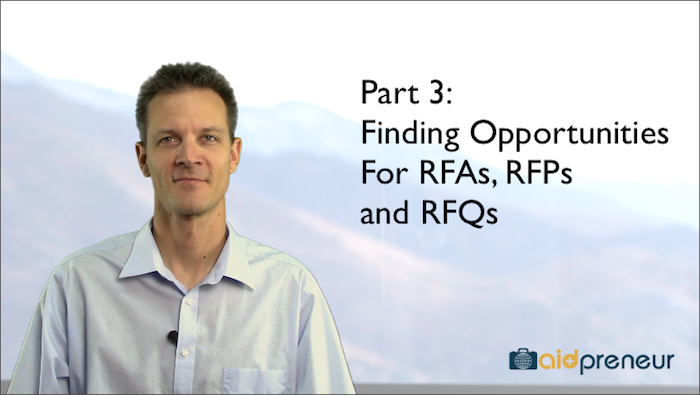 Part 3 of Finding Opportunities for RFAs, RFPs and RFQs