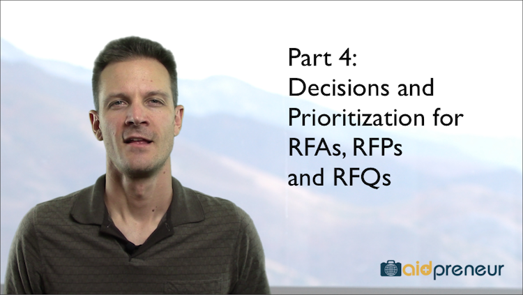 Part 4 of Decisions and Prioritization for RFA RFP RFQ