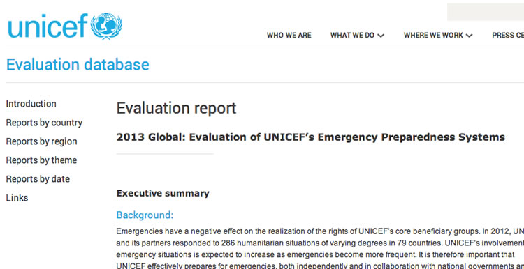 UNICEF Publishes ISG's Evaluation on Emergency Preparedness