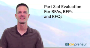 Part 3 of Evaluation for RFAs, RFPs and RFQs