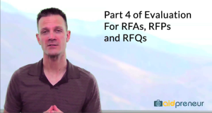 Part 4 of Evaluation for RFAs, RFPs and RFQs